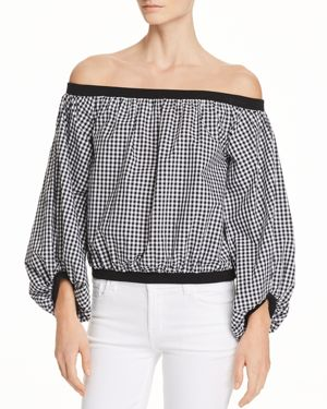 7 FOR ALL MANKIND Off-The-Shoulder Gingham Blouson-Sleeve Top in Multi