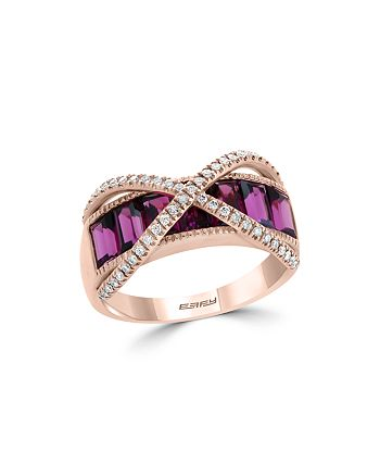Bloomingdale's - Garnet & Diamond Crossover Ring in 14K Rose Gold - 100% Exclusive