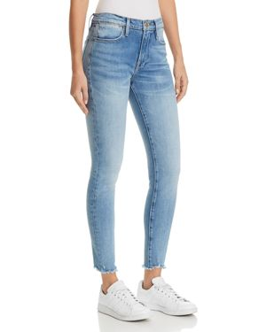 LE HIGH SKINNY RAW-EDGE JEANS IN SAND DOLLAR