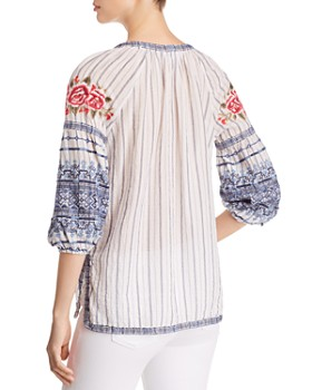 Johnny Was - Shea Embroidered Peasant Blouse