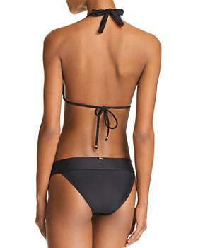 PilyQ - Lace Overlay Halter Bikini Top & Lace Waistband Bikini Bottom