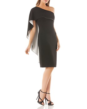 Carmen Marc Valvo Infusion - One-Shoulder Overlay Dress