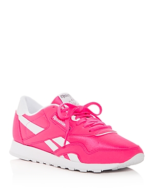 6440aefd1dfd6 Reebok Women S Classic Nylon Brights Lace Up Sneakers In Acid Pink White