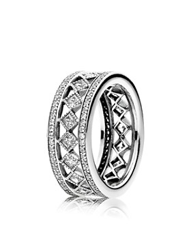 PANDORA - Sterling Silver & Cubic Zirconia Vintage Fascination Ring