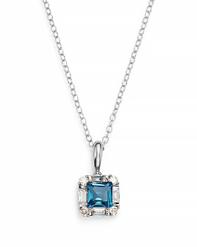 """Bloomingdale's - London Blue Topaz & Diamond Square Pendant Necklace in 14K White Gold, 18"""" - 100% Exclusive"""
