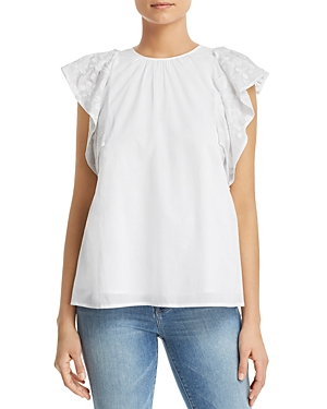 65ac37f93 MICHAEL MICHAEL KORS EMBROIDERED FLUTTER-SLEEVE TOP ...