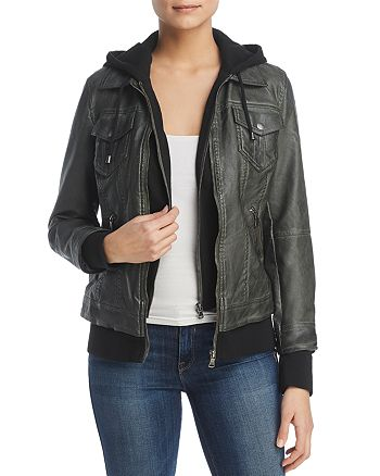Bagatelle - Faux-Leather Layered-Look Hooded Jacket