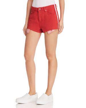PISTOLA WINSTON HIGH-RISE STRIPED-TRIM DENIM SHORTS IN LIGHT RED