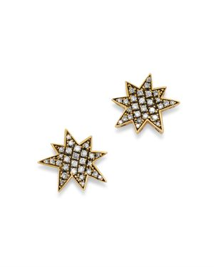 SUEL BLACKENED 18K YELLOW GOLD BIG BANG DIAMOND EARRINGS