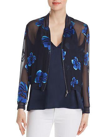 Elie Tahari - Brandy Sheer Floral Bomber Jacket