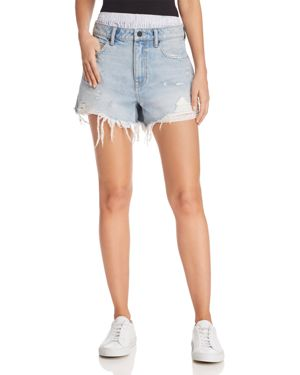 Alexanderwang.T Bite Mix Layered-Look Denim Shorts In Bleach in Blue