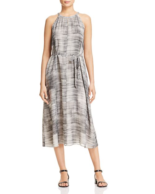 Eileen Fisher - Sleeveless Brush-Stroke-Print Silk Dress