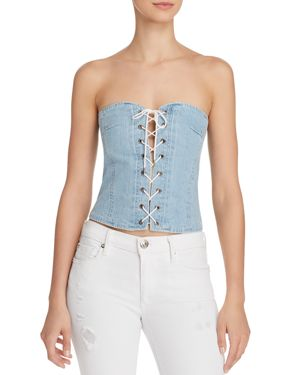 PISTOLA LACE-UP DENIM CORSET TOP