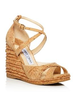 Jimmy Choo - Women's Alanah 105 Cork Platform Wedge Sandals