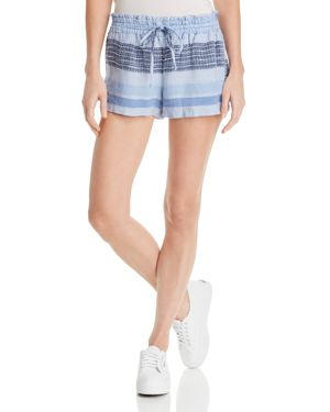 Striped Drawstring Woven Shorts, Shades Of Blue