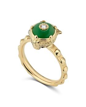 Gucci - 18K Yellow Gold Le Marche des Merveilles Jade & Diamond Feline Head Ring