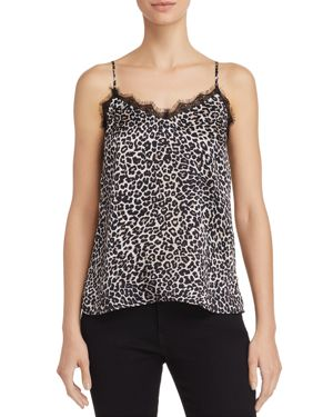 Lace-Trimmed Leopard-Print Silk-Charmeuse Camisole