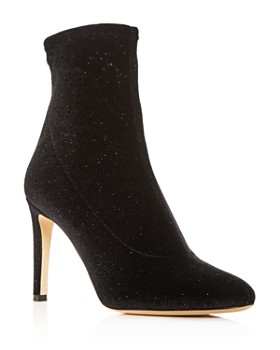 Giuseppe Zanotti - Women's Stretch Glitter Velvet Pointed Toe Booties
