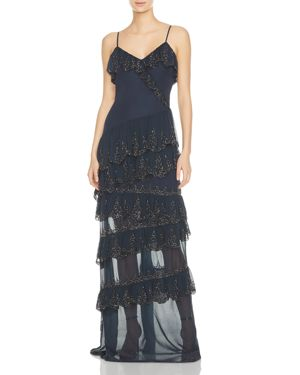 SOCIALITE TIERED RUFFLED SILK GOWN