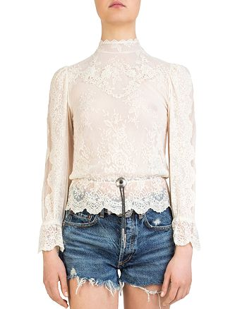 The Kooples - Bolo-Detail Lace Top