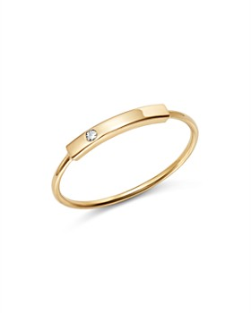 Zoë Chicco - 14K Yellow Gold Horizontal Diamond Bar Ring