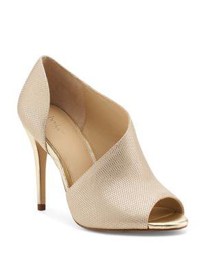 Adelia Leather D'Orsay Peep Toe Pumps, Gold