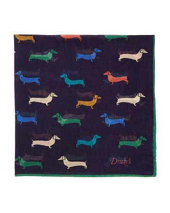 Drake's - Multicolor Dachshund Print Pocket Square