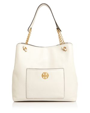 Chelsea Slouchy Leather Tote, New Ivory/Gold
