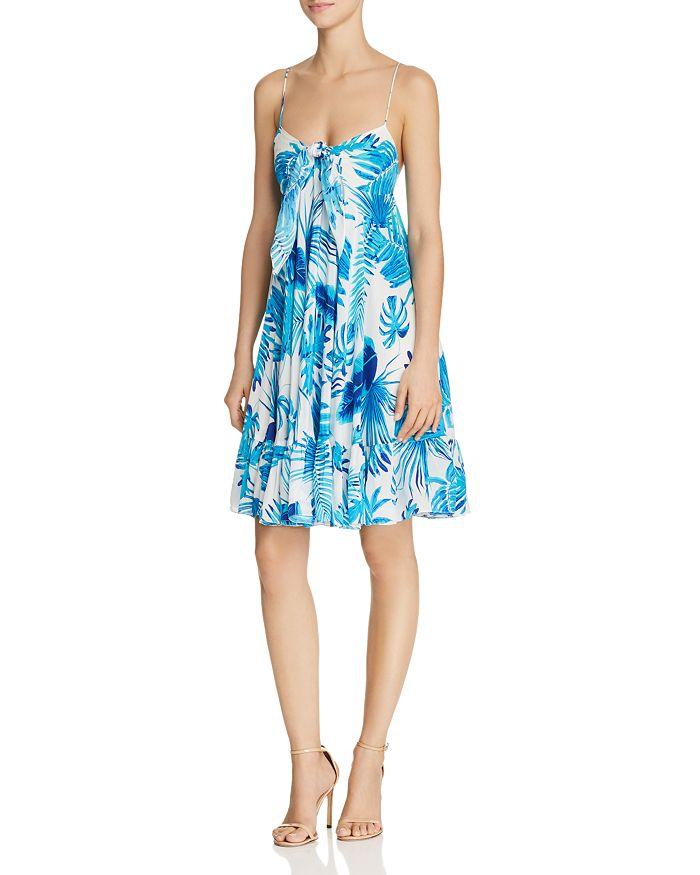 Rococo Sand - Leaf-Print Silk Dress