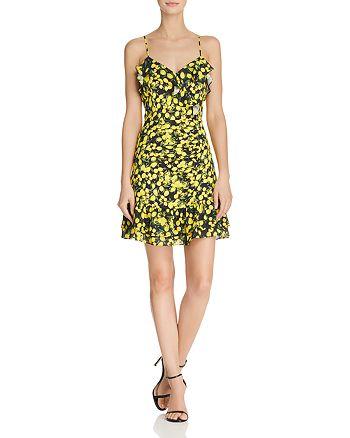 Parker - Erica Ruffled Lemon-Print Dress