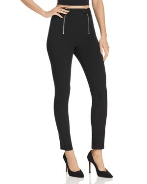 Paneled Body-Con High-Rise Pants, Black