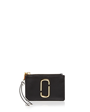 a2a8f0118e47 MARC JACOBS TOP ZIP LEATHER MULTI CARD CASE, BLACK BABY PINK/GOLD