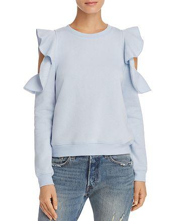Rebecca Minkoff - Gracie Ruffle Cold Shoulder Sweatshirt - 100% Exclusive