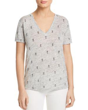 Cara Star-Print Linen/Tencel V-Neck Tee, Heather Gray