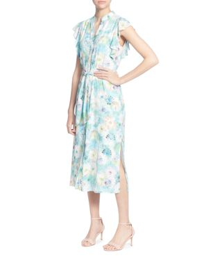 High-Neck Ruffle-Sleeve Belted Floral Dress, Neon Floral
