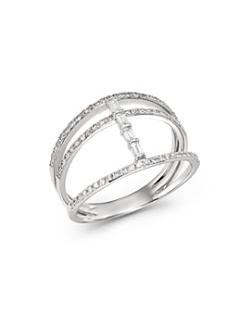 KC Designs - 14K White Gold Mosaic Three-Row Diamond Ring