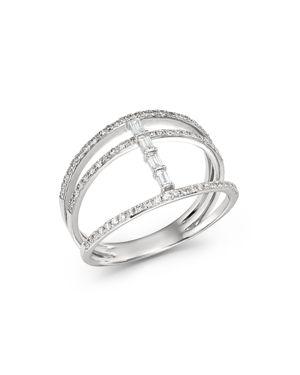 KC DESIGNS 14K WHITE GOLD MOSAIC THREE-ROW DIAMOND RING