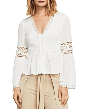 Bcbgmaxazria Kammy Lace-Trim Bell Sleeve Top