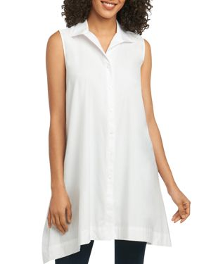 FOXCROFT SLEEVELESS BUTTON-DOWN TUNIC