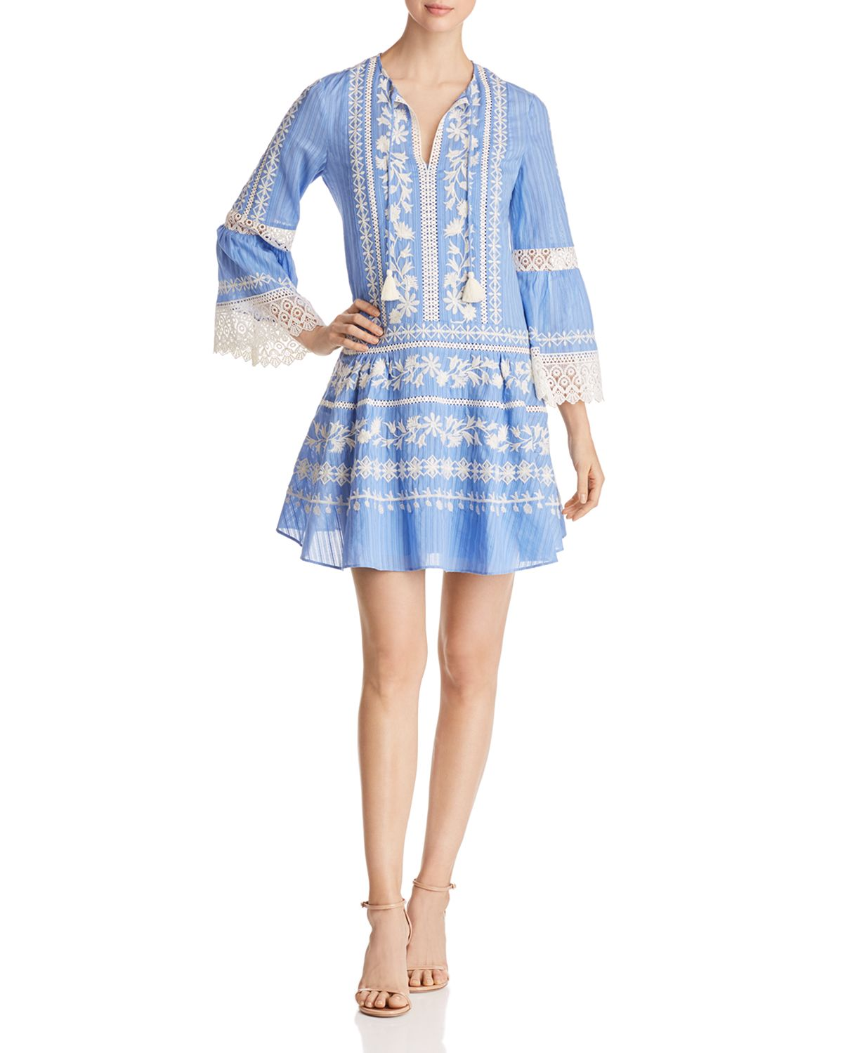Gabriella Embroidered Striped Dress by Tory Burch