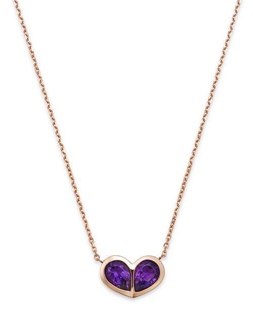 "Bloomingdale's - Amethyst Double Teardrop Pendant Necklace in 14K Rose Gold, 16"" - 100% Exclusive"