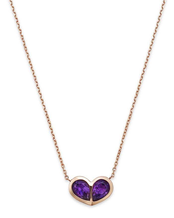 "Bloomingdale's - Amethyst Double Teardrop Pendant Necklace in 14K Rose Gold, 16"" - 100% Exclusive"