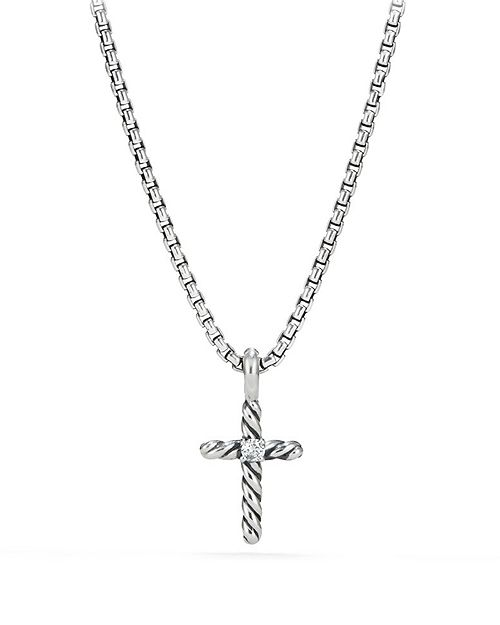 David Yurman - Cable Collectibles Kids Cross Necklace with Diamonds