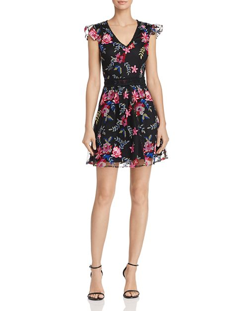AQUA - Floral Embroidered Mesh Fit-and-Flare Dress - 100% Exclusive