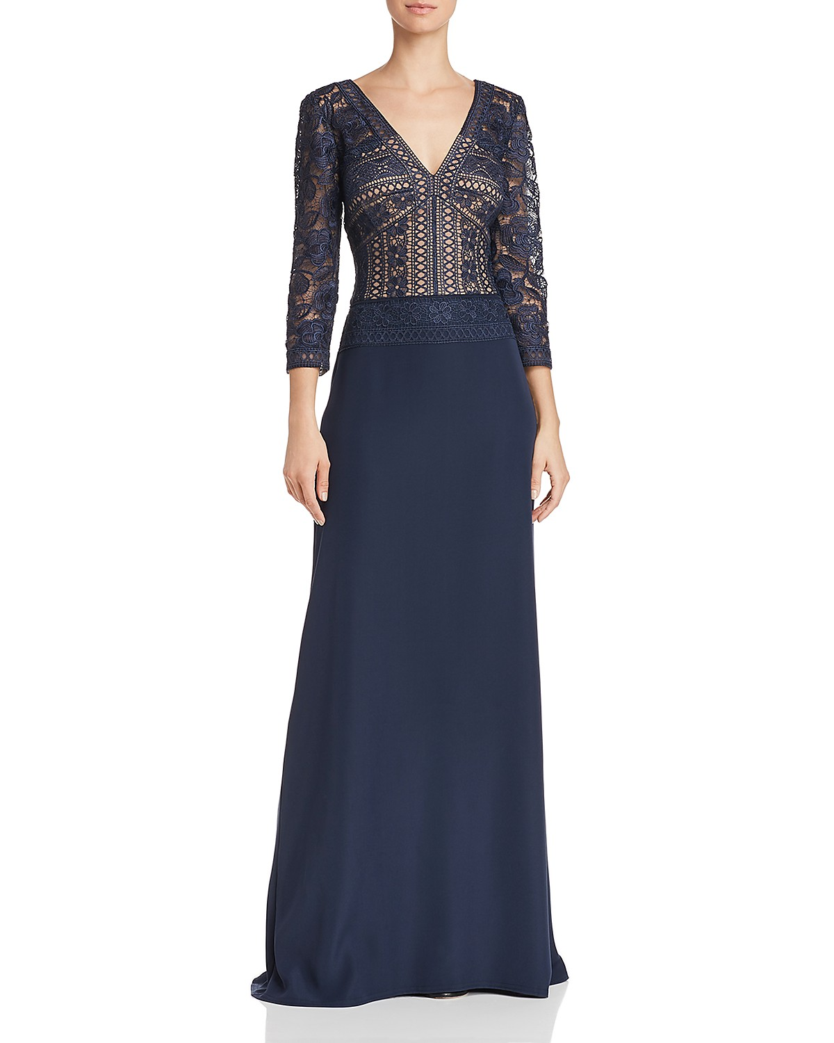 Tadashi Shoji Embroidered Illusion Lace Gown | Bloomingdale\'s