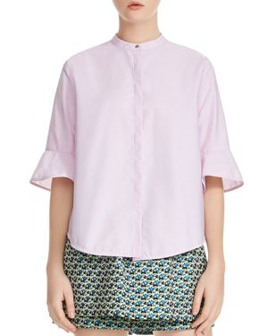 CHARLY COTTON RUFFLE SLEEVE TOP