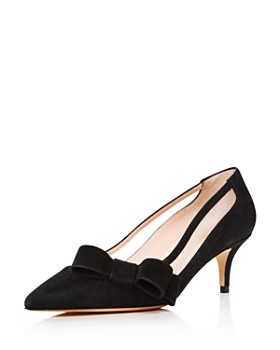 kate spade new york - Women's Mackenzie Suede Bow Mid-Heel Pumps