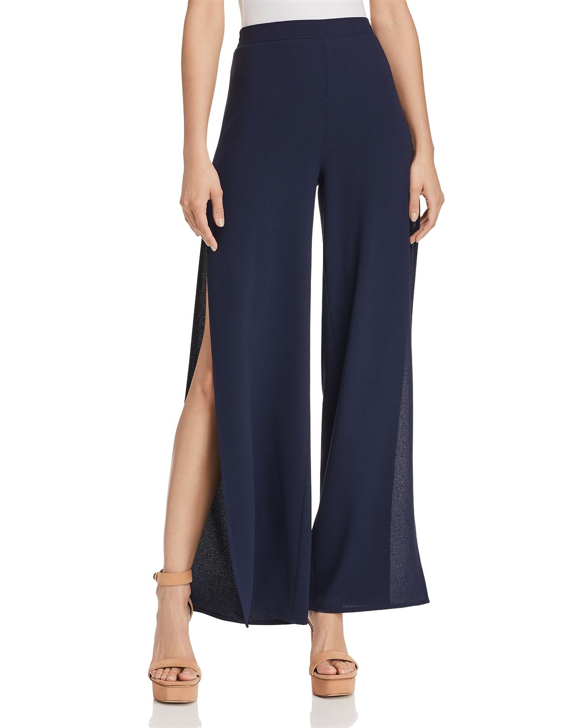 Side Slit Wide Leg Pants   100 Percents Exclusive by Vince Camuto Petites