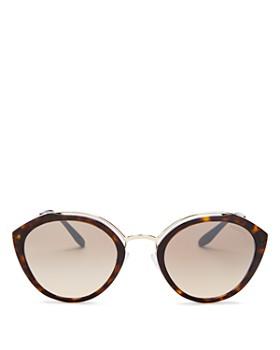 Prada - Women's Temple Evolution Mirrored Round Sunglasses, 53m