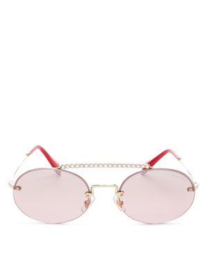 Evolution 54Mm Rimless Round Sunglasses - Pale Gold Gradient Mirror